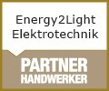 Logo Energy2Light Elektrotechnik Smart Home - Elektroinstallationen - Photovoltaik